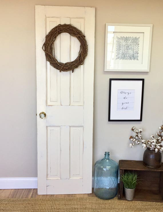 White Interior Wood Door - Fixer Upper Decor - Distressed Door - Bedroom Door - Restore Home - Modern Farmhouse -