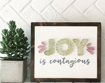 JOY is Contagious Mixed Media Wooden Sign Home Decor