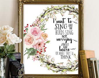 Spring printable, Spring print, Spring decor, Spring decoration, Spring wall art, Floral Wreath Art, Wreath, I want to sing like the birds