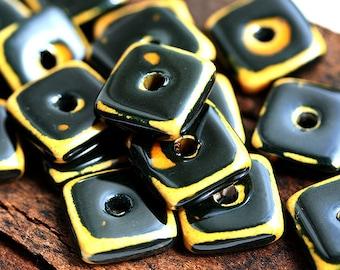 Greek Ceramic square beads - Raku Black and Yellow, kiln fired large square washer, 12mm - 6pc - 0699