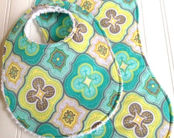 Baby Bib & Burp Cloth Set  -  Super Absorbent Chenille - Triple Layer Design  -  Gender Neutral Teal Moroccan