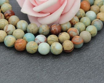 x 6 round serpentine stone beads 8 mm PG157