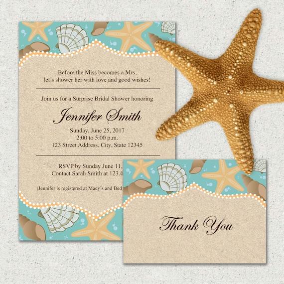 Beach themed bridal shower invitation andor thank you card filmwisefo