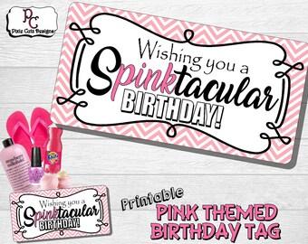 Pink Themed Printable Birthday Gift Tag
