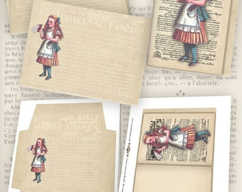 Alice in Wonderland Card and Envelope instant download digital collage sheet VDCAAL0930