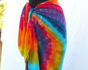 Tie Dye Double Rainbow Swirl Sarong