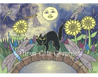 Midnight in the Garden of Dragonflies - Choose from ACEO Print, Note Card with Stickers, or Art Print