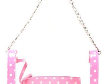 Chrissy medium clear game day handbag - aurora pink and white