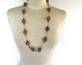 long Wood Bead Necklace 70s Vintage brass glass bead boho hippie hippy necklace