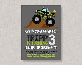 Monster Truck Invitation, Monster Truck Birthday Invitation, Monster Truck Birthday, Monster Truck Party, Truck Invitation, Truck Birthday