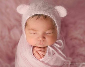 Newborn hat, newborn bear hat, newborn bear bonnet, newborn photo prop, newborn prop