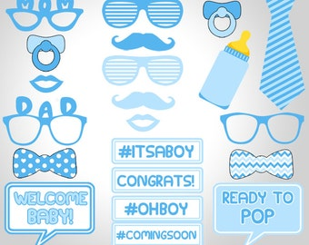 Baby Shower Boy Photo Booth Props Printable, Blue Baby Shower Photo Booth Props Printable, Blue Baby Boy Photo Props Printable