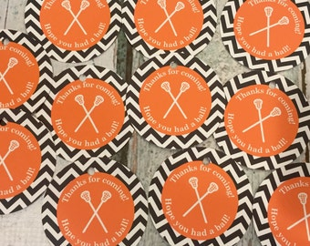 LACROSSE Happy Birthday or Baby Shower Party Favor Tags or Stickers 12 {One Dozen} Green Blue - Party Packs Available