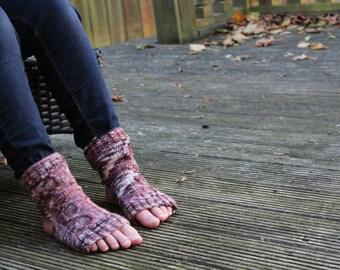 KNITTING PATTERN Pilates Yoga Socks Stockings Cabled Heeless Toeless Knitting Pattern Seasonal Winter Accessory Men Women Sports Socks