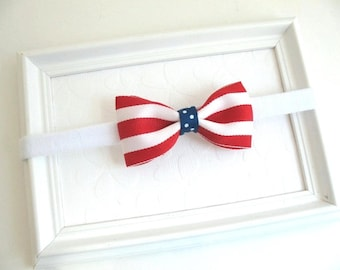 4th of July Hair Bow Headband, Patriotic Baby, Newborn, Infant, Girls Striped Boutique Hair Bow