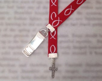 Cross Bookmark / Christian Bookmark / Jesus Bookmark - Clip to book cover then mark the page with the ribbon. Never lose your bookmark!