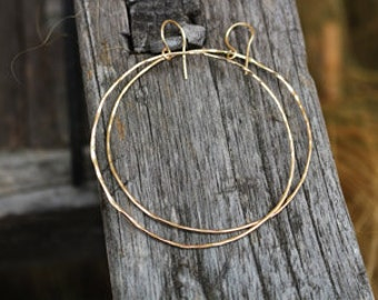 Thin gold filled hoop earrings hammered texture delicate jewelry idea for her gift under 30