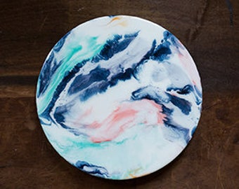 Marbled Moon Resin Painting 12 inches