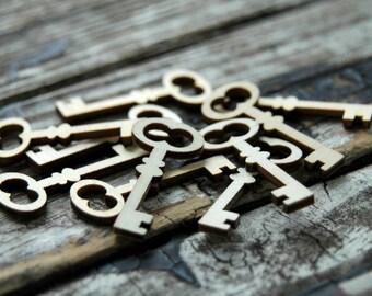 10 . Unfinished Wood Keys . Rustic Wedding Favors . Key to My Heart . Skeleton Keys Bulk . Wood Tags . Rustic Bridal Shower Decorations