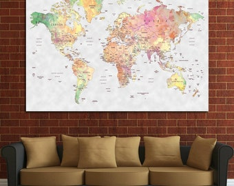 World map wall art etsy push pin world map wall art custom quote world map print poster art canvas living room wall decor travel personalized gift gumiabroncs Image collections