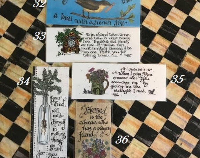 Inspirational Bookmarks-Cindy Grubb_For His Glory-#31-36,Luke 18 1, Bird with fry, To be a friend, Deuteronomy 30 9, Psalm 138,Blessed Woman