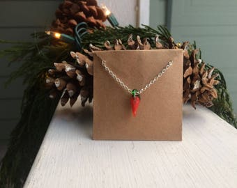 Glass Chili Pepper Necklace