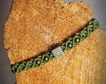 forest-green bronze coil bracelet