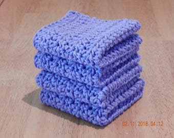 Dish Cloth, Wash Cloth, Crochet Dish Cloth, 100 percent cotton, Set of 4 -- lavender, gift under 10.00