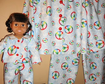 """Girl and doll matching flannel pajamas, blue with rainbow peace signs, girl size 6, 18"""" doll"""