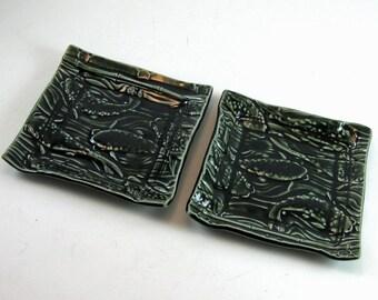 Juicy Dark Green Koi Handmade Tray Plate Dipping Tapas Sushi