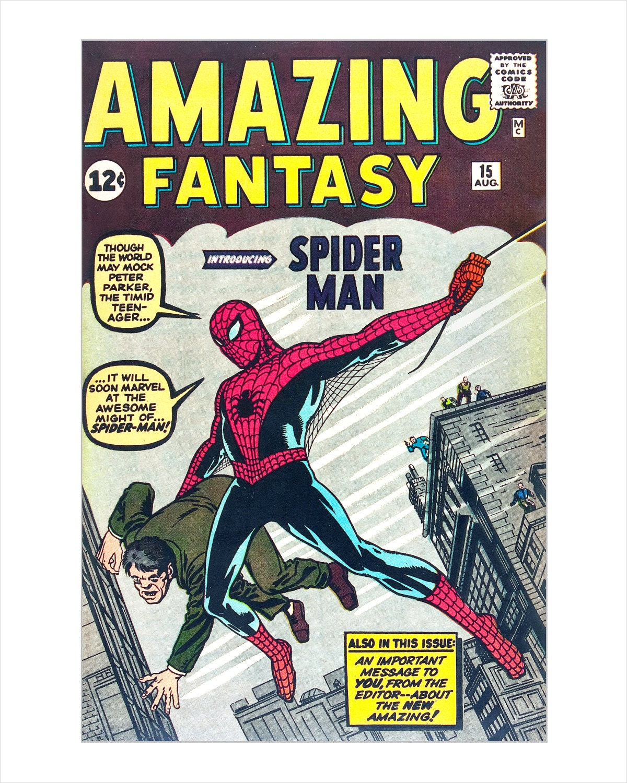 Book Cover Art Etsy : Spider man comic book cover art print marvel comics amazing