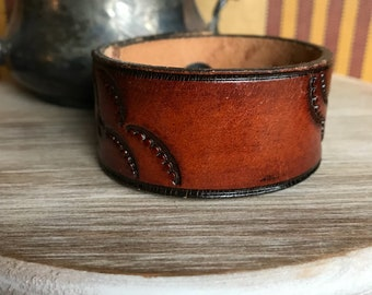 Custom handstamped ornate leather cuff