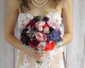 Light Pink, Coral, and Vintage Purple Wedding Bouquet, Ready To Ship!
