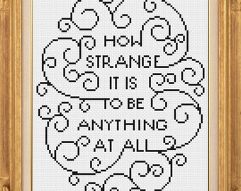 How strange it is to be anything at all neutral milk hotel cross stitch patterm *PATTERN ONLY* PDF instant download