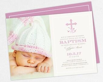 Photo Baptism Invitation, Christening Invitation, Girl Baptism, Printable Baptism Invitation, PDF, Floral, Watercolor Flower, Purple, Kayla