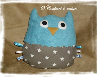 Blue OWL shaped pillow / gray with stars