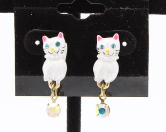 Enamel Cat Earrings with Rhinestone Dangles