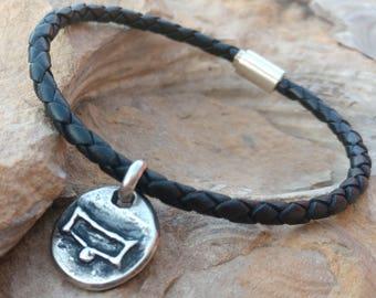 Mens Braided Leather Zodiac Bracelet, Personalized Capricorn Aquarius Pisces Aries Taurus Gemini Cancer Leo Virgo Libra Scorpio Sagitarius