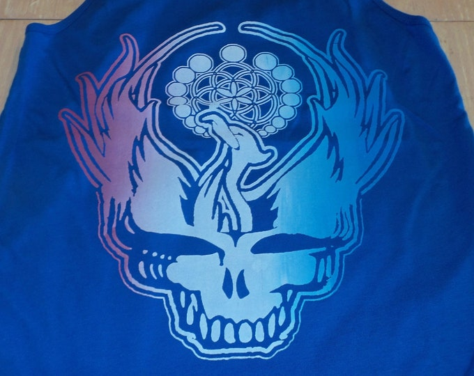 Women's Tank Top - Steal Your Phoenix (Red/White/Blue Fade on Blue)