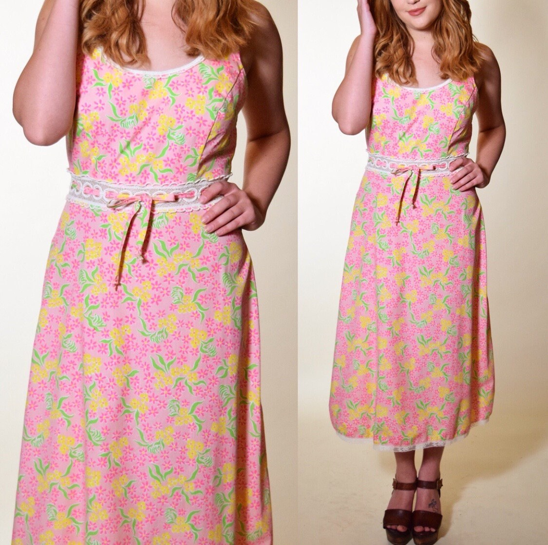 28eb4b91b2 Vintage 1960 s floral (Lilly Pulitzer) pink summer lace trim midi maxi ...