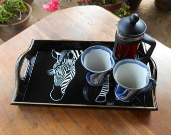 Drinks Tray, Hand Decorated with a Zebra Eating, Black with gold outside line FREE Shipping