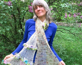 hand knit long soft art yarn oversize luxury gypsy boho  scarf -  enchanted garden trellis scarf