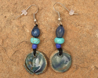 Stoneware Ceramic Earrings with Teal Glaze, Turquoise Beads and Teal Job's Tears seeds