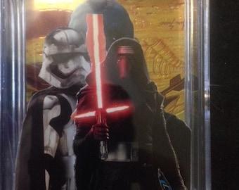 Star Wars force awakens 3D pop up art card,Kylo/Phasma. hand made