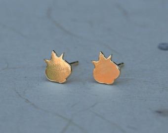 Tiny Gold Pomegranate studs 18K gold plated pomegranate earrings