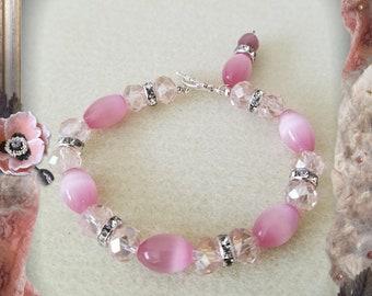 Pink Cat's Eye & Crystal Beaded Bracelet