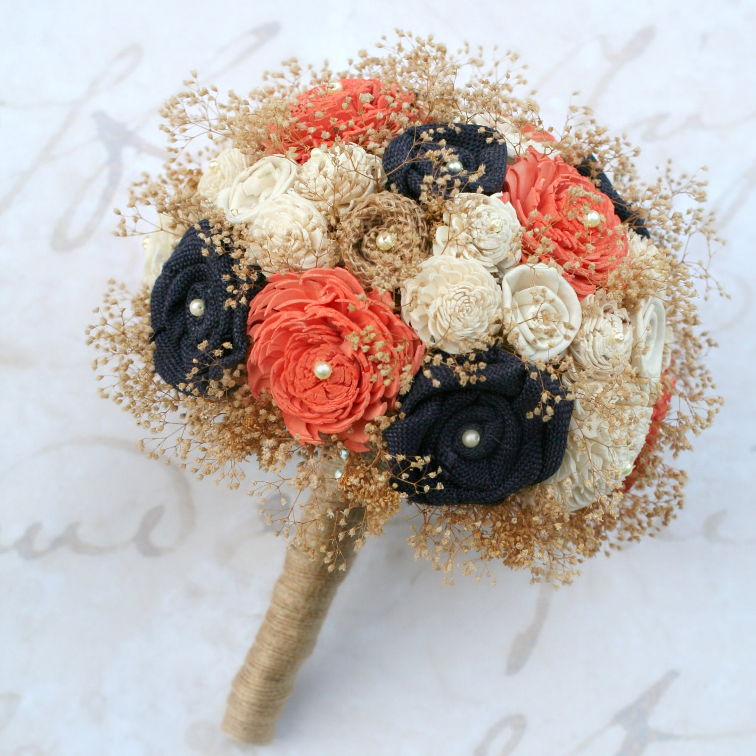 Navy Blue And Coral Wedding: Wedding Bouquet Navy Blue Coral Orange // Orange Coral