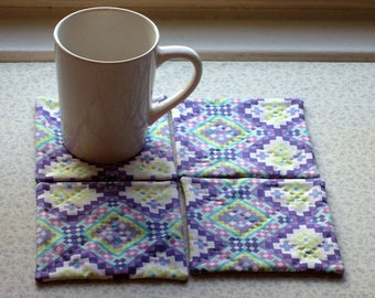 purple geometric hand quilted set of mug rugs coasters