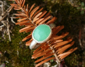 Natural rose cut chrysoprase and sterling silver handmade ring, size 8