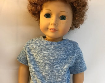 Soft Heather Blue Tshirt Tee fits 18 inch dolls 18 inch doll clothes